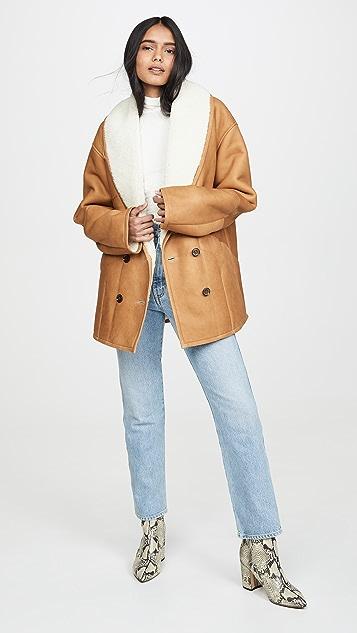 FRAME 茧型连毛羊皮外套