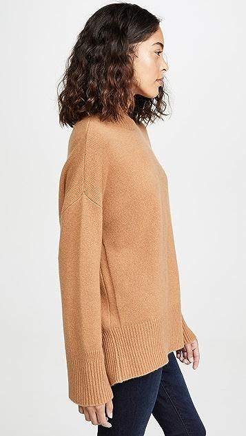 FRAME 高低不对称下摆半高领开司米羊绒毛衣