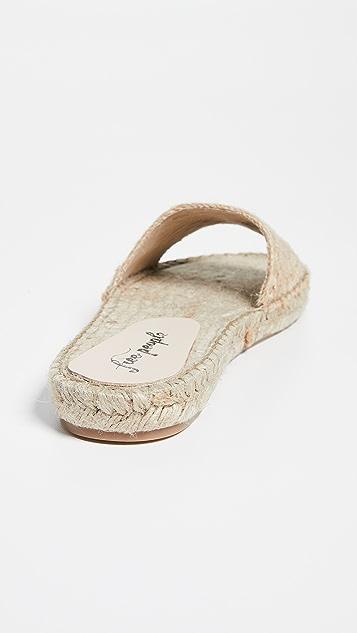 Free People 海滩风格正面编织平底鞋