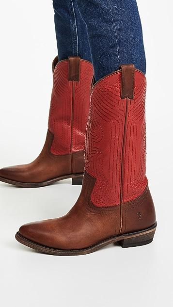 Frye Billy 缝线一脚蹬靴子