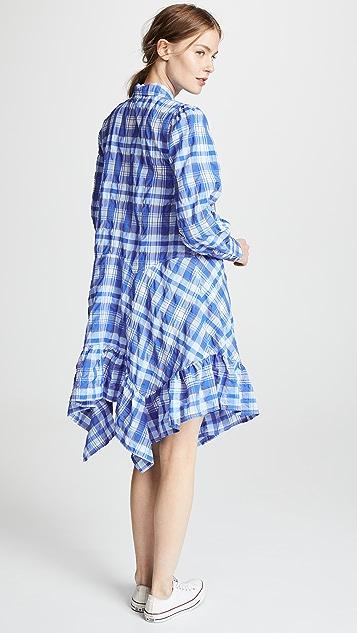 GANNI 泡泡纱格纹连衣裙