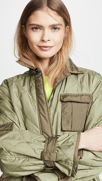 GANNI 厚织尼龙布料绗缝夹克