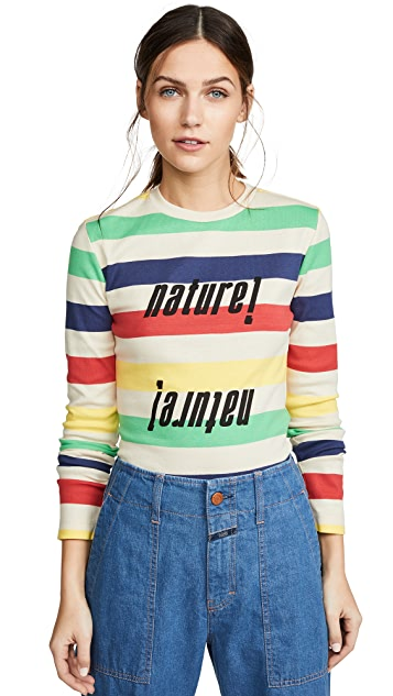 GANNI 条纹罗纹 T 恤