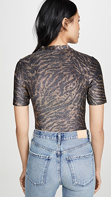GANNI 金属色平针织 T 恤