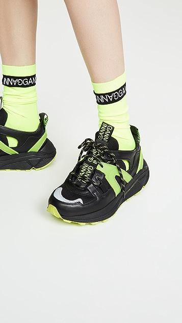 GANNI 荧光色标识袜子