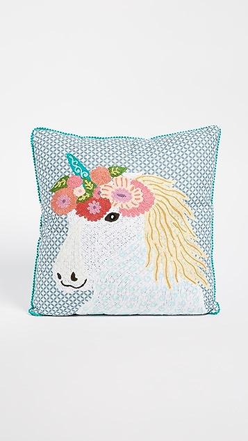 礼物精品馆 Unicorn 花卉印花抱枕