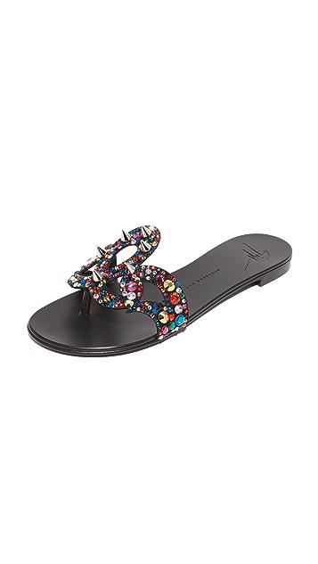 Giuseppe Zanotti 镶珠宝平底凉鞋