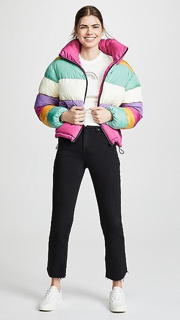 迷人无限 彩虹色夹棉外套