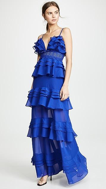 迷人无限 钴蓝色荷叶边层褶连衣裙