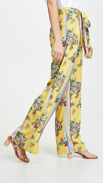 迷人无限 黄色花卉印花条纹裤子