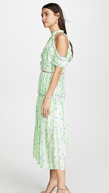 迷人无限 苹果线形花卉绉绸连衣裙
