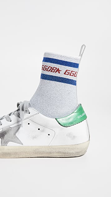 Golden Goose Supserstar 金属色袜式运动鞋