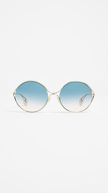 Gucci Fork 椭圆形镜架太阳镜