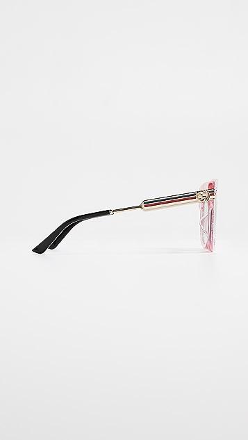 Gucci 复古 Web 超大太阳镜