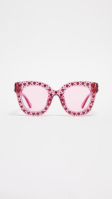Gucci 施华洛世奇水晶心形猫眼镜架