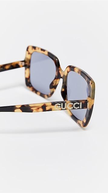 Gucci 醋酸纤维塑料方形太阳镜