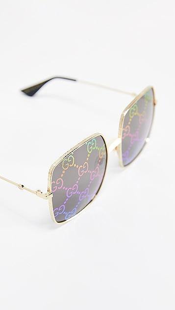 Gucci Gucify 方形金属徽标太阳镜