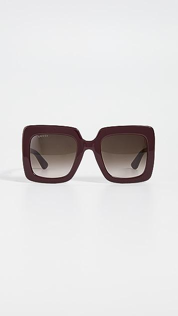 Gucci GG 醋酸纤维塑料超大方形太阳镜