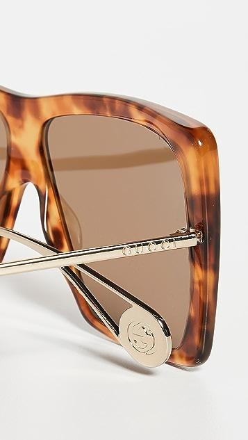 Gucci Evolution 超大方形飞行员太阳镜