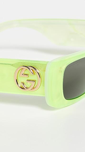 Gucci Fluo 窄版醋酸纤维塑料矩形太阳镜