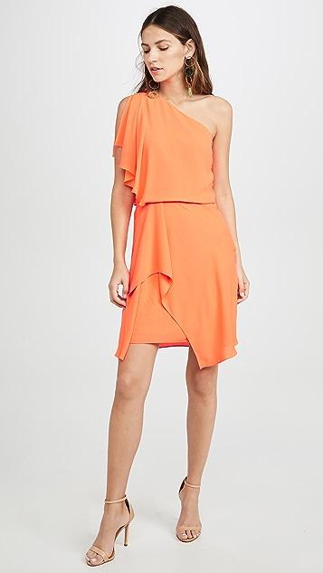 HALSTON 荧光橙色单肩连衣裙