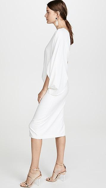 HALSTON 垂褶单肩中长连衣裙