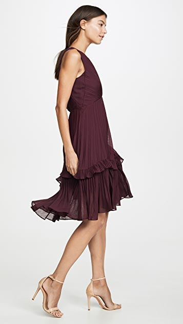 HALSTON 荷叶边细节褶皱连衣裙