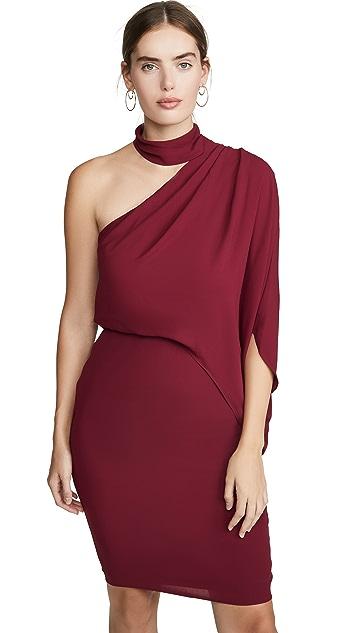 HALSTON 环绕式领口不对称垂褶连衣裙