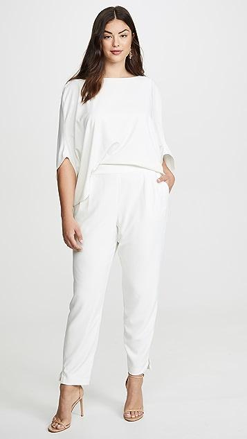 HALSTON 垂褶袖锥形裤筒绉绸连身衣