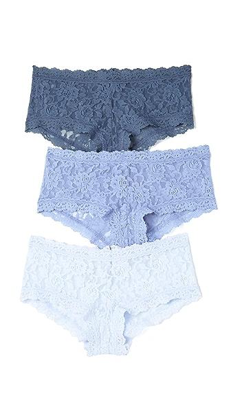 Hanky Panky 3 件装标志性蕾丝 Something Blue 低腰平角内裤