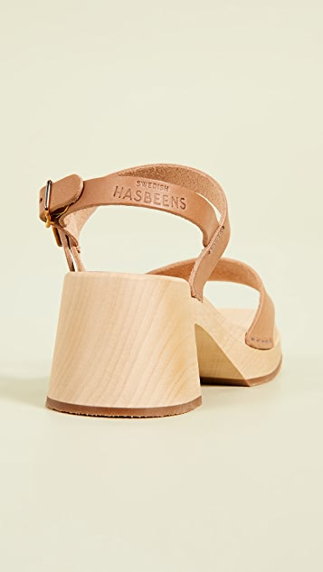Swedish Hasbeens Gittan 粗跟木底鞋