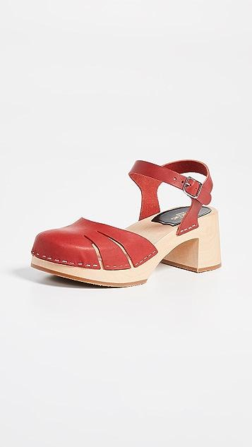 Swedish Hasbeens Baskemslla 脚踝绑带木底鞋