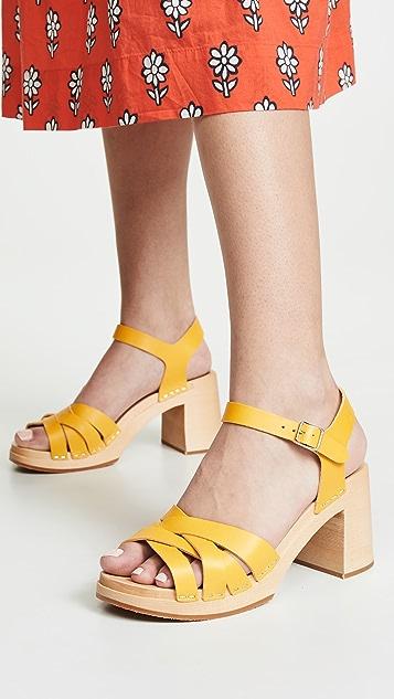 Swedish Hasbeens Elsie 脚踝绑带木底鞋