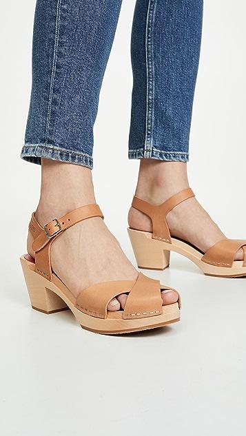 Swedish Hasbeens Mirja 踝带木底鞋