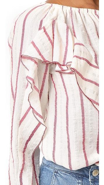 Intropia 条纹荷叶边女式衬衫
