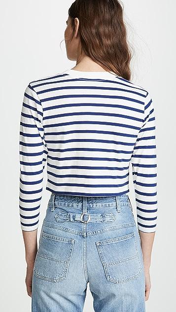 Hanes x Karla 条纹长袖短款 T 恤