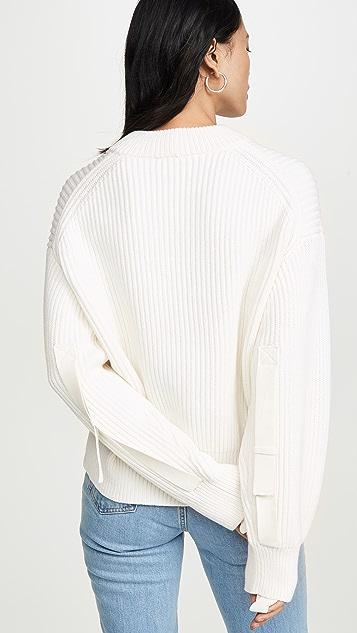 Helmut Lang 羊毛棉质圆领毛衣