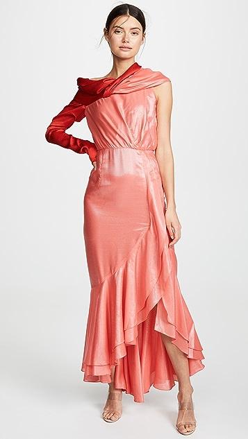 Hellessy Eden 不对称垂坠皱褶礼服
