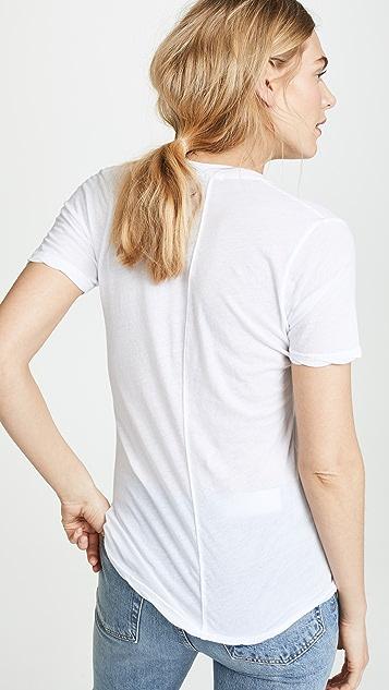 MONROW 薄纱 V 领 T 恤