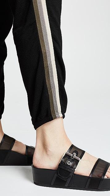 MONROW 非彩色条纹柔软运动裤