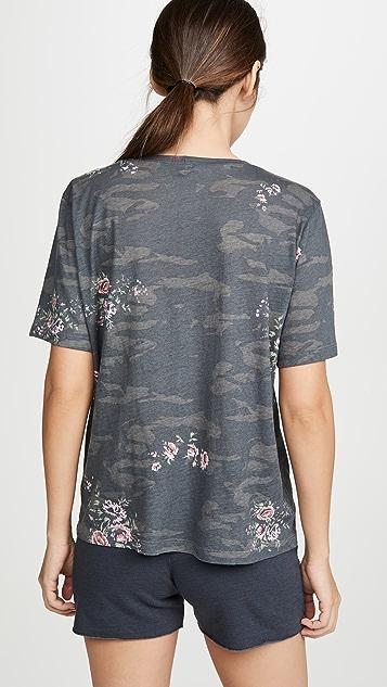 MONROW 迷彩超大圆领花卉印花 T 恤