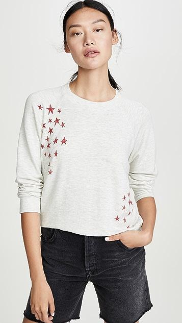MONROW 褪色星星柔软复古连肩袖套头衫