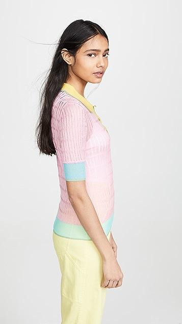 i-am-chen 拼色马球衫毛衣
