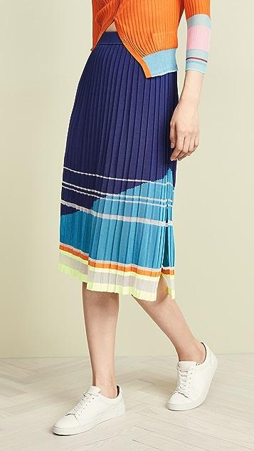 i-am-chen 开衩裥褶条纹半身裙
