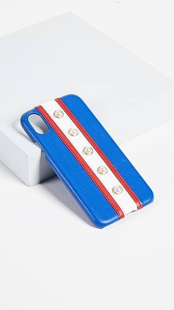 Iphoria 条纹和人造珍珠 iPhone X 手机壳