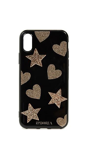 Iphoria 亮片心形和星星 iPhone X 手机壳