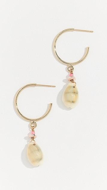 Isabel Marant 珠皮呢贝壳圈式耳环
