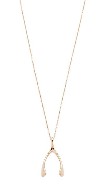 Jennifer Meyer Jewelry 18k 玫瑰金许愿骨项链