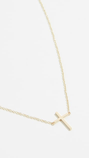Jennifer Meyer Jewelry 18K 金细十字项链