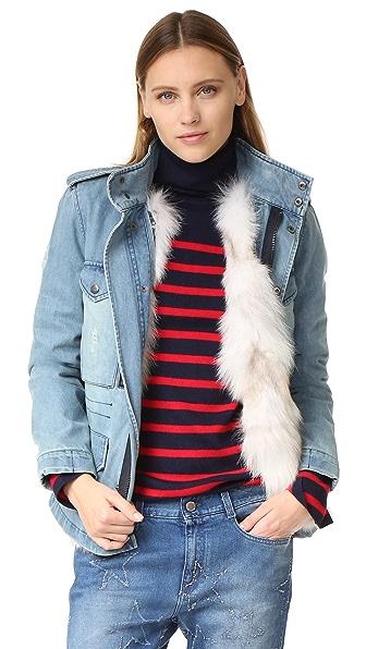 Jocelyn 狐狸皮毛衬里牛仔布大衣